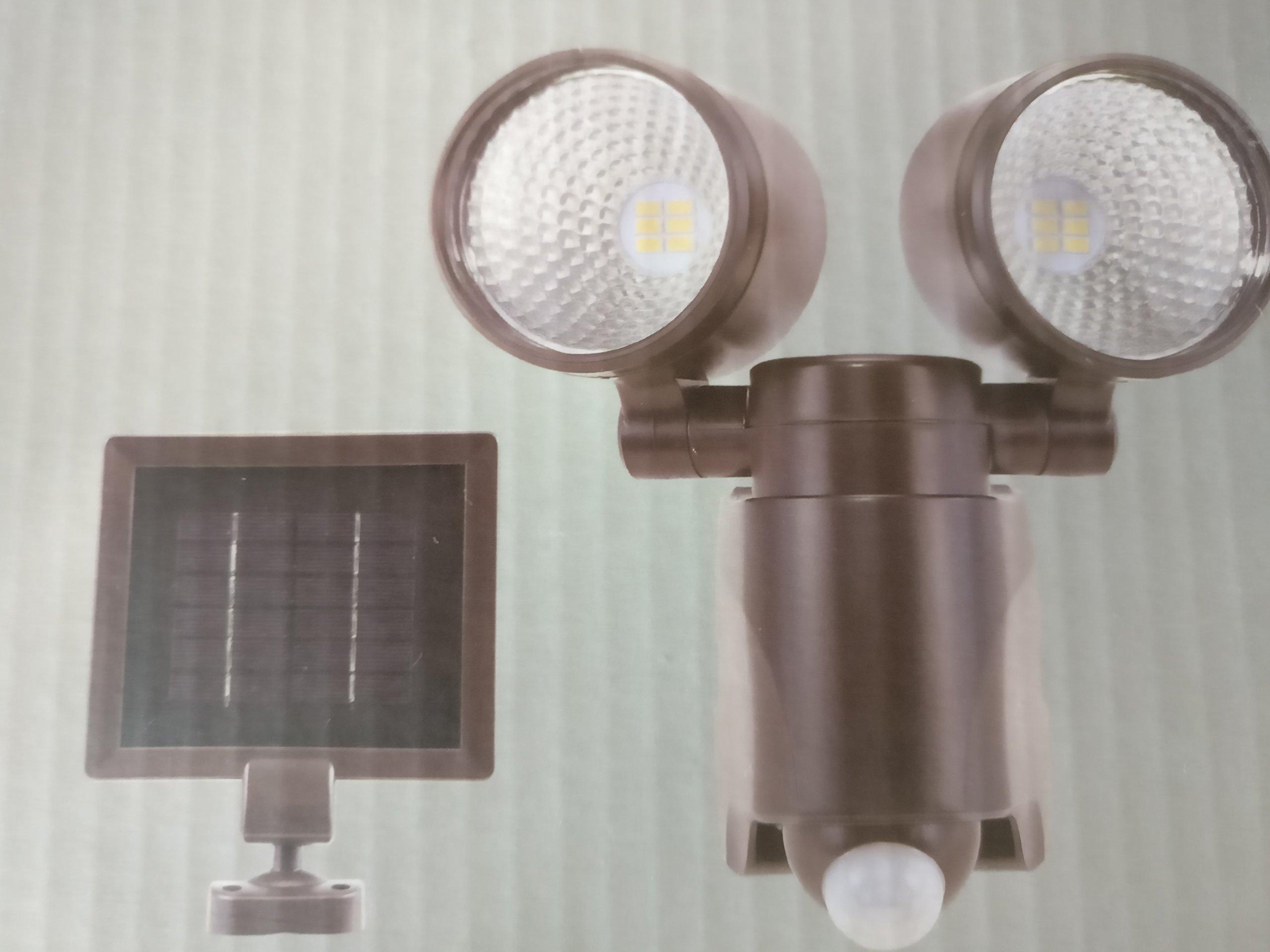 Eco-Star LED Solar Motion Double-Head Security Flood Light, 6500K, 560 Lumens, Bronze Finish