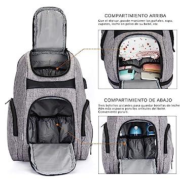 Mochila de Pañales y Biberones,Srotek estilo versátil resistente al agua bolsa de pañales para bebés,Bolsa de viaje de nylon con bolsillo ...