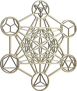 "ZenVizion 13.5"" Metatron's Cube Wall Art, Sacred Geometry Home Decor, Meditation Symbol, Yoga Hanging Artwork, Laser Cut Wooden Wall Sculpture, Wealth, Prosperity, Abundance, Gift"