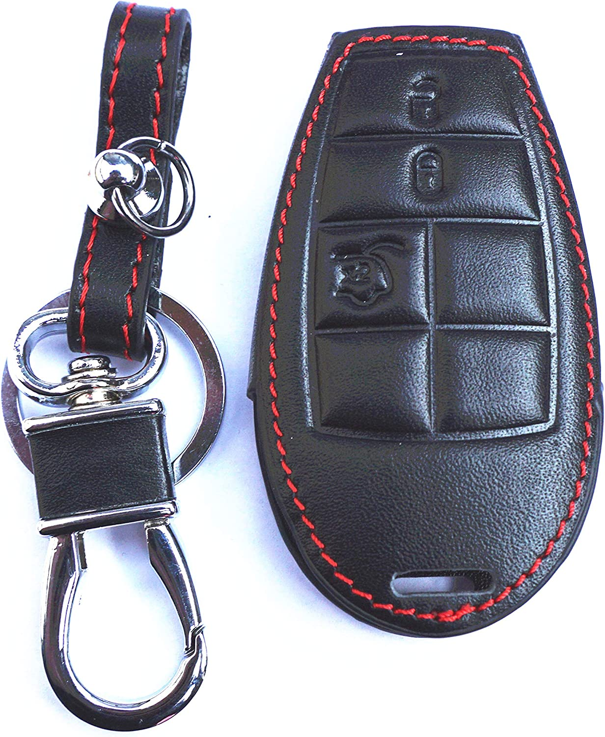 New Black Genuine Leather Remote Smart Key Chain Holder Cover Case Fob For Dodge Challenger Charger Magnum Durango Grand Caravan Ram 1500 2500 3500 4500 Jeep Commander Grand Cherokee Chrysler 300