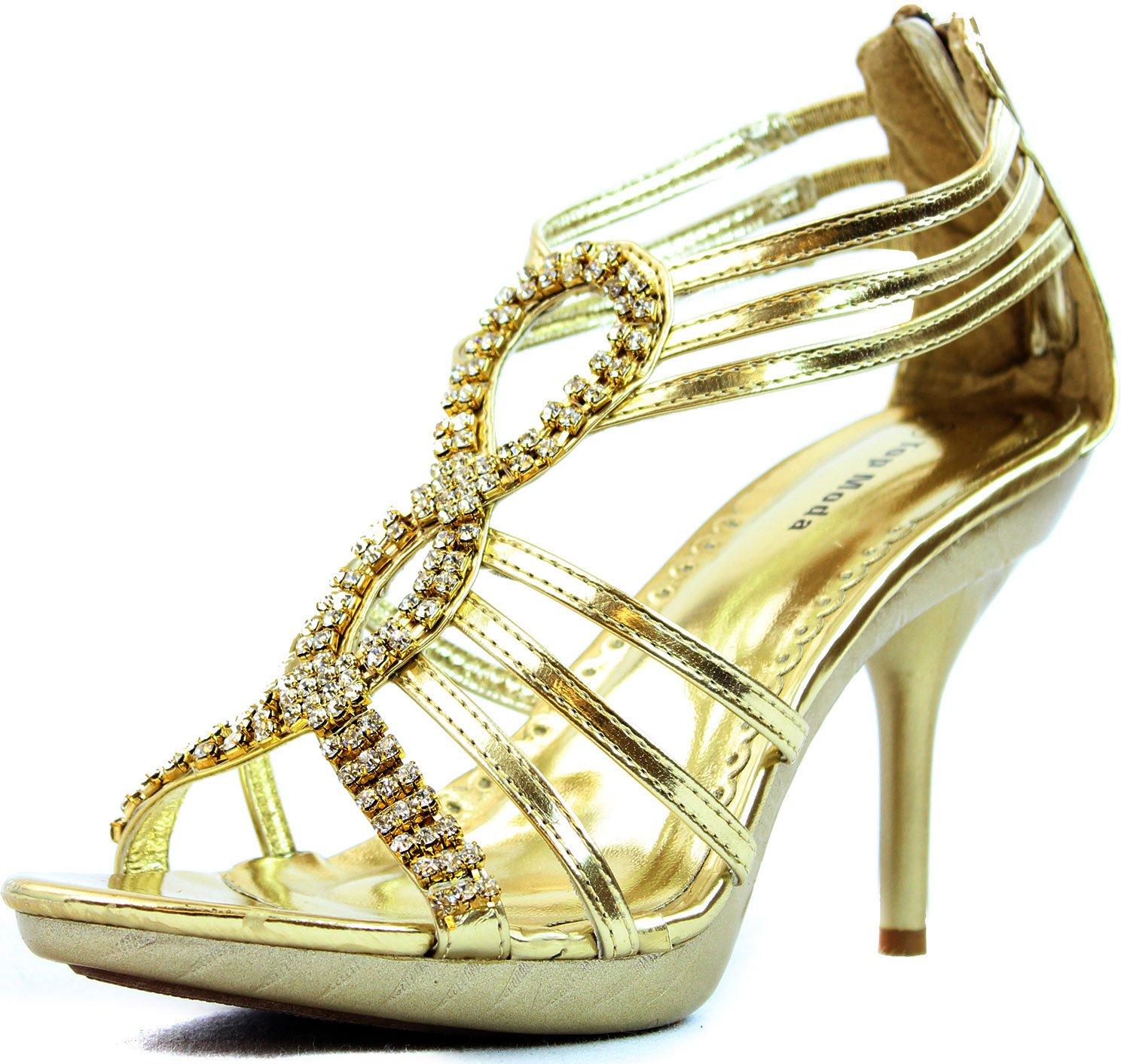 Top Moda Women's Fine-72 Gold Color Rhinestone Evening Shoes, Gold, 6