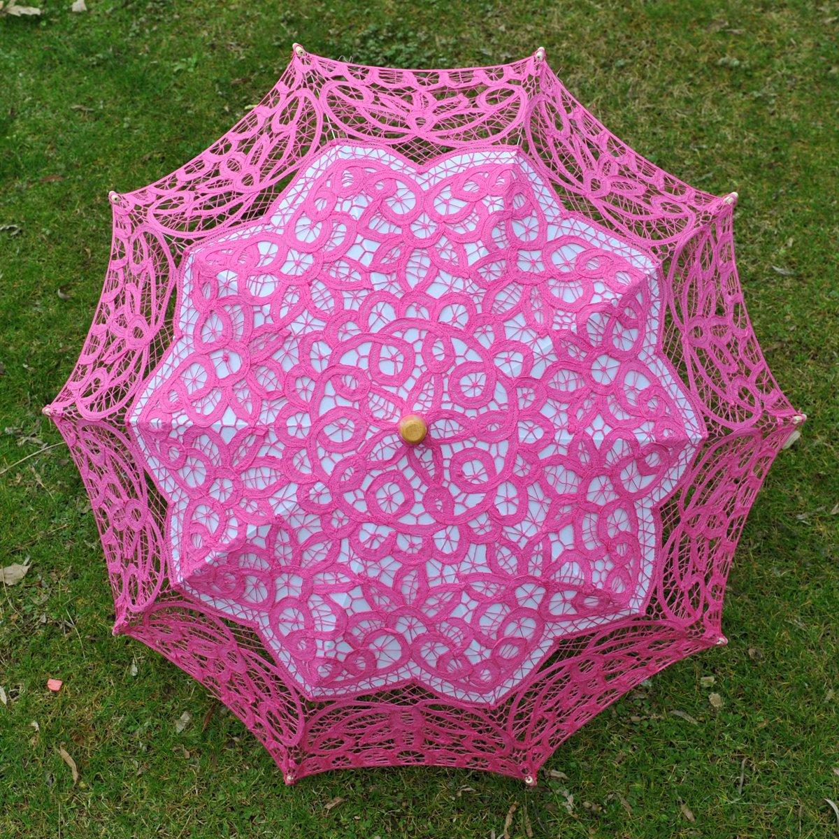 Topwedding Classic Cotton Lace Parasol Umbrella Bridal Shower Decoration, Fuschia by Topwedding (Image #7)