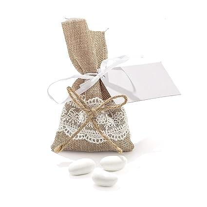 Bomboniere Matrimonio Stile Rustico : 20pz sacchetti sacchetto rustici iuta naturale in lino con fiocco