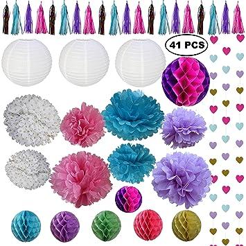 Amazon Com 41 Piece Rainbow And Unicorn Party Decorations Kit