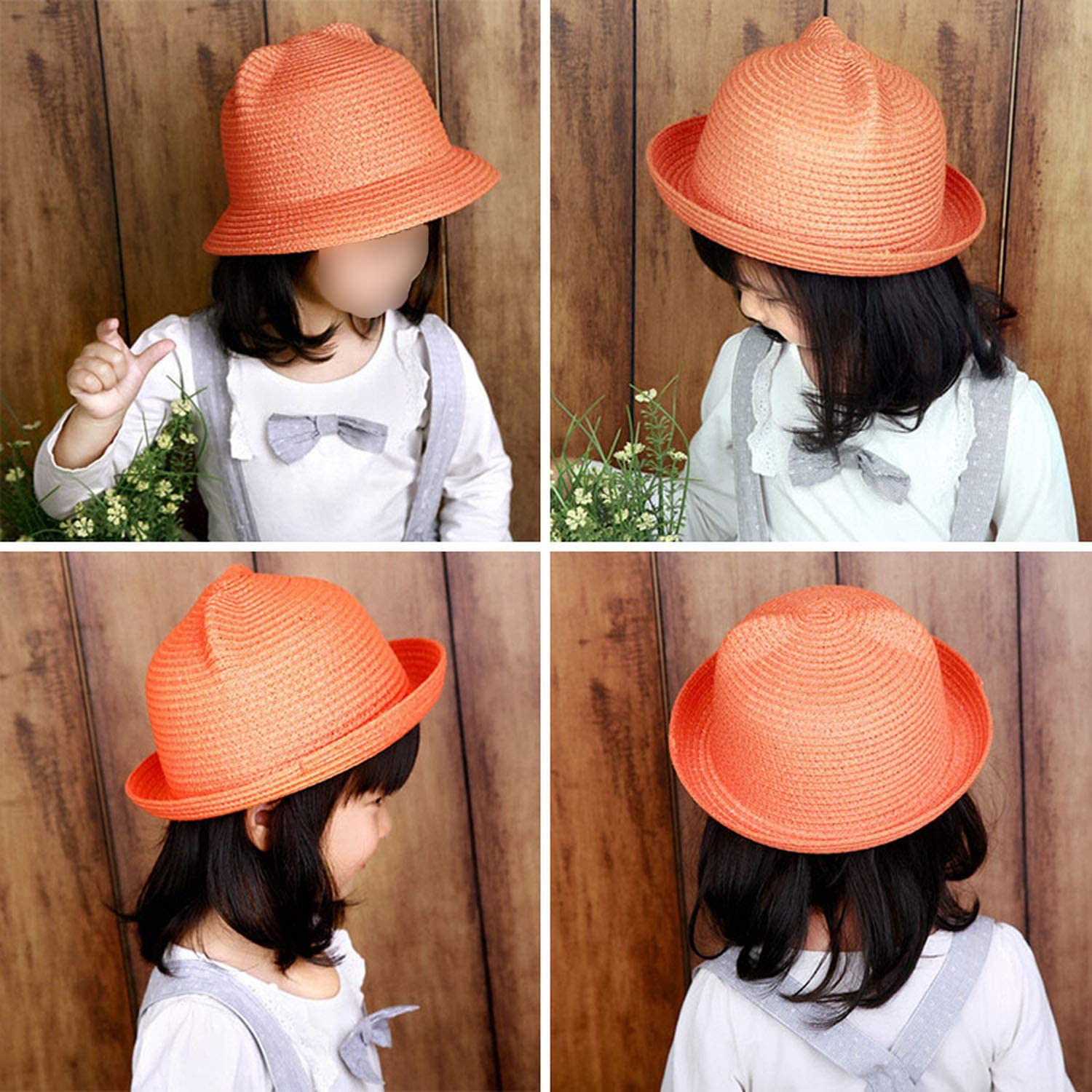 Straw Hat Character Ear Decoration Summer Cap Sun Hat for Girl Boy Bucket Cap Children Hat Beach Panama Cap