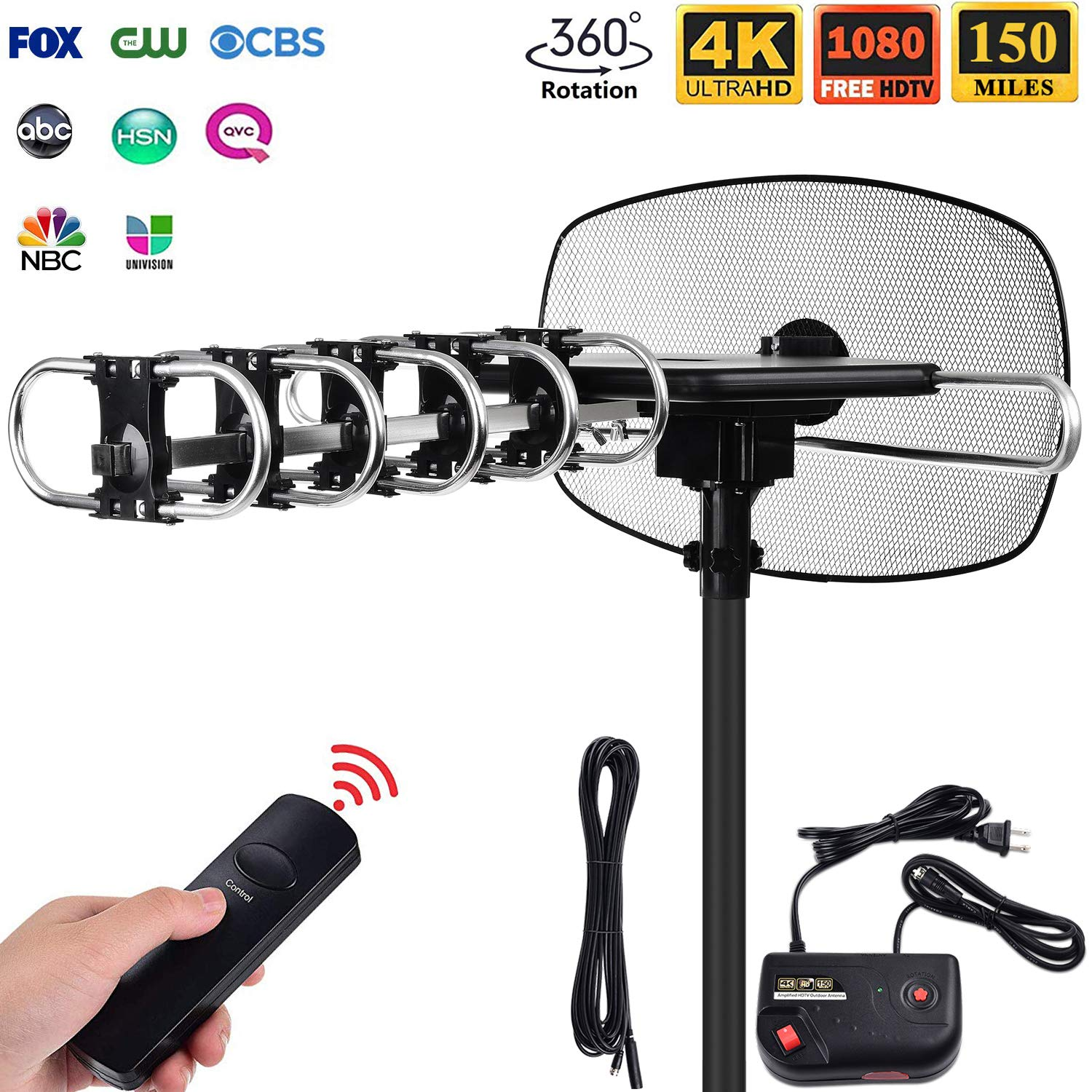 OnLyee Outdoor TV Antenna - Amplified Digital TV Antenna 150 Mile Motorized 360 Degree Rotation for 2 TVs Support - UHF/VHF/4K/1080P Channels Receiver with Wireless Remote Control - 40ft Coax Cable