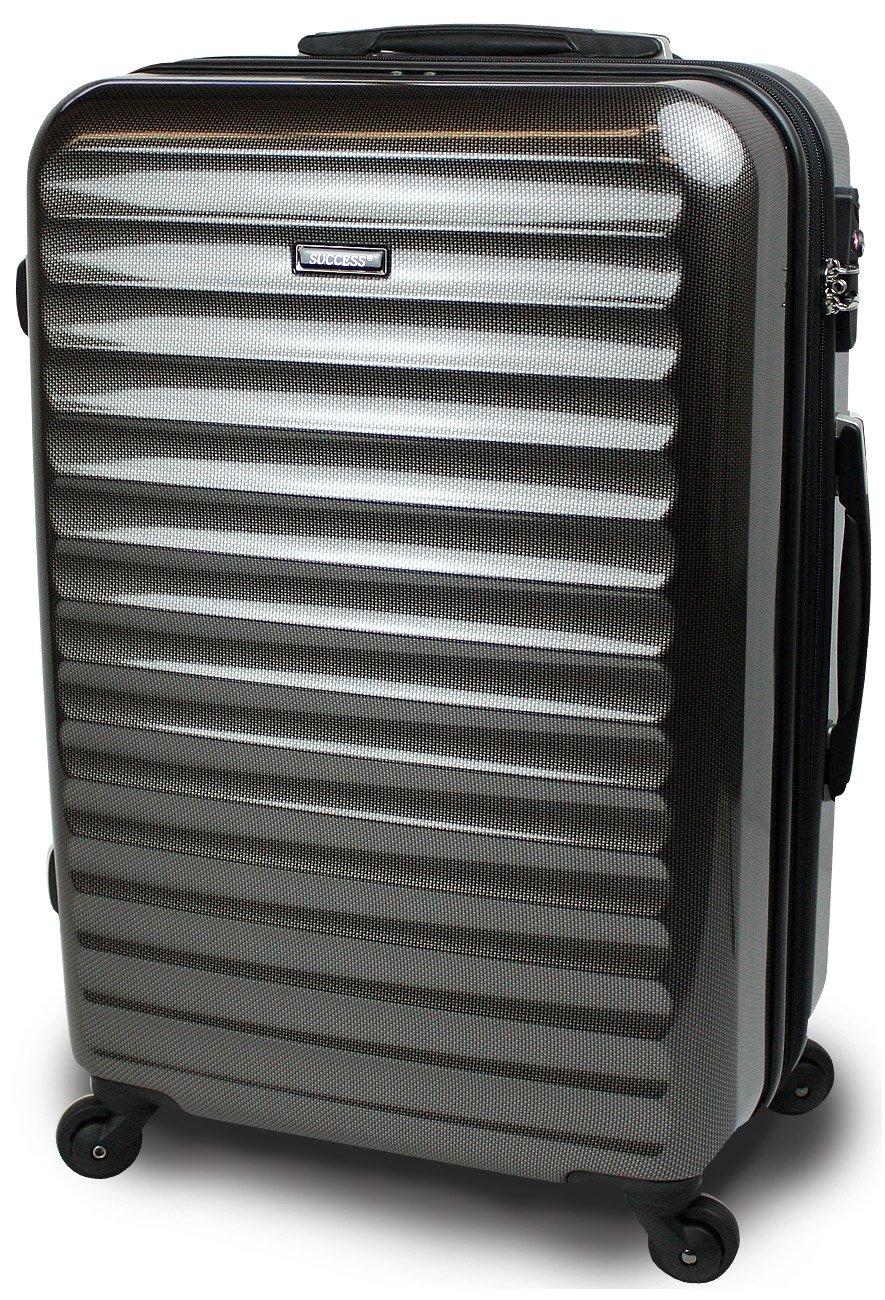 【SUCCESS サクセス】 スーツケース 3サイズ( 大型  中型  小型 ) 超軽量 キャリーバッグ TSAロック 搭載 【 ヴィアーノ2016 ダブルファスナーモデル 】 鏡面ミラー加工 B00CLR8CU0 大型 75cm|カーボンブラック カーボンブラック 大型 75cm