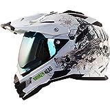 Broken Head Fullgas Viking matt weiß Enduro Helm + Visier blau verspiegelt - Motorradhelm - MX Helm - Cross Helm (S 55-56 cm)