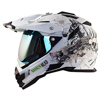 Broken Head Fullgas Viking Matte White Enduro Helmet Blue Reflective Visor