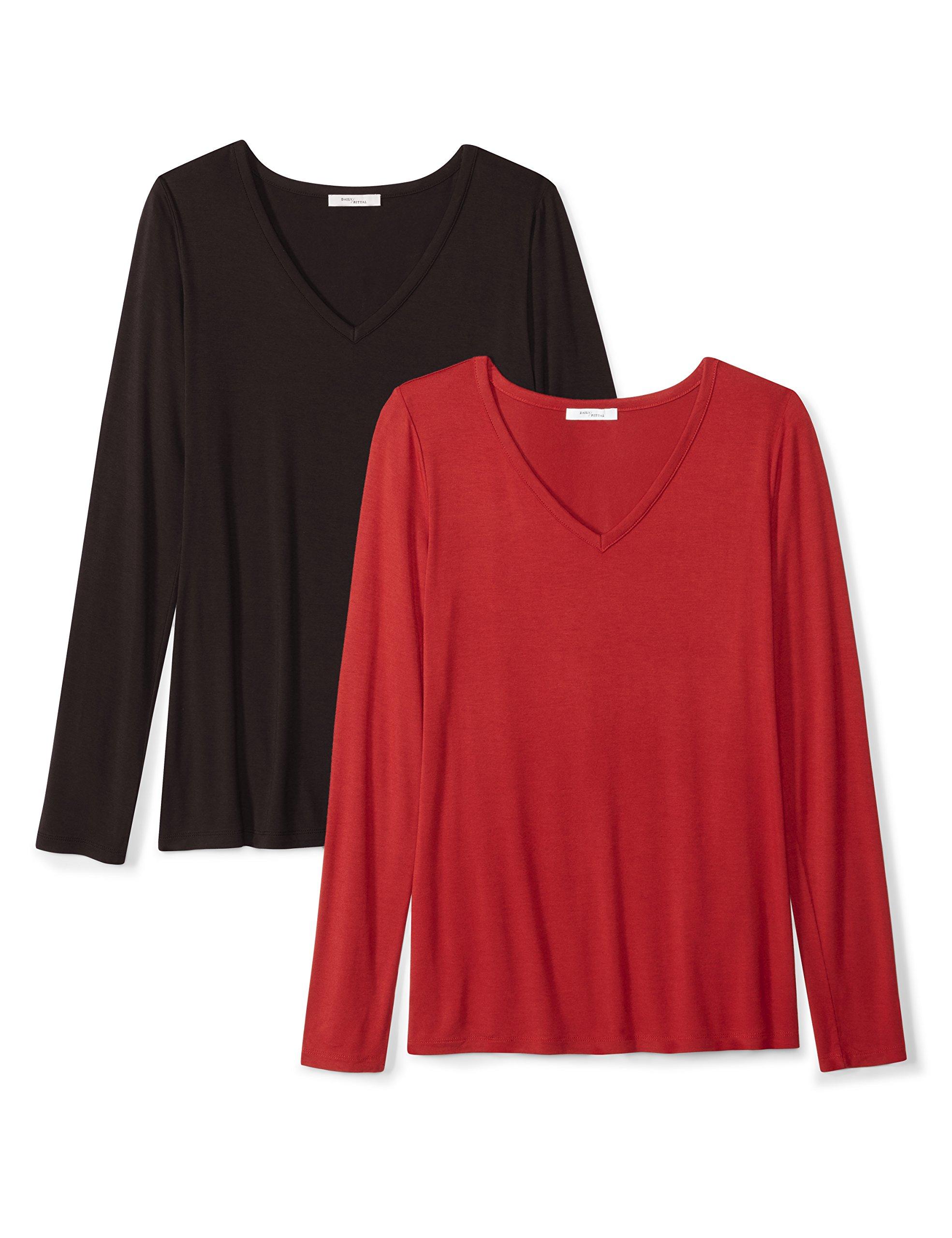 Daily Ritual Women's Jersey Long-Sleeve V-Neck T-Shirt, 2-Pack, XXL, Black/Deep Red