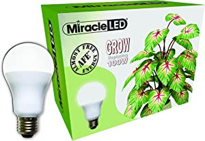 Miracle LED Almost Free Energy 100W Spectrum Grow Lite - Daylight White Full Spectrum LED Indoor Plant Growing Light Bulb for DIY Horticulture, Hydroponics, and Indoor Gardens (604293) Single Pack