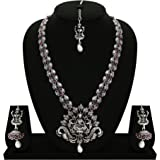 Matushri Art Temple Jewelry Of God Laxmi Dancing Elephant Antique German Oxidised Silver Plated Jewellery Set For Women