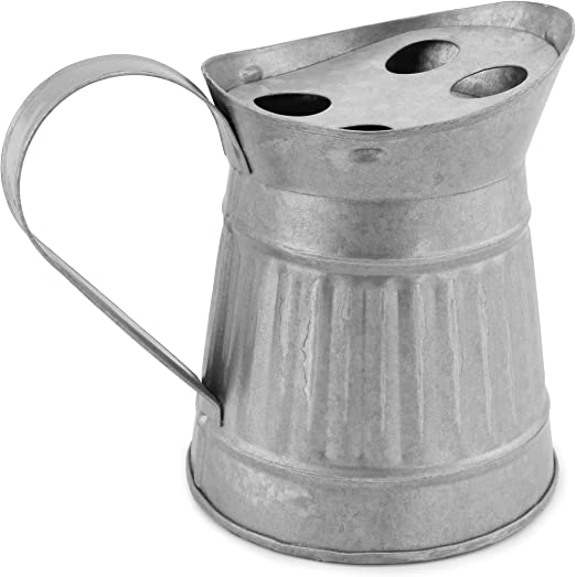 AuldHome Farmhouse Galvanized Toothbrush Holder; Pitcher-Shaped Rustic Bathroom Decor Accessory
