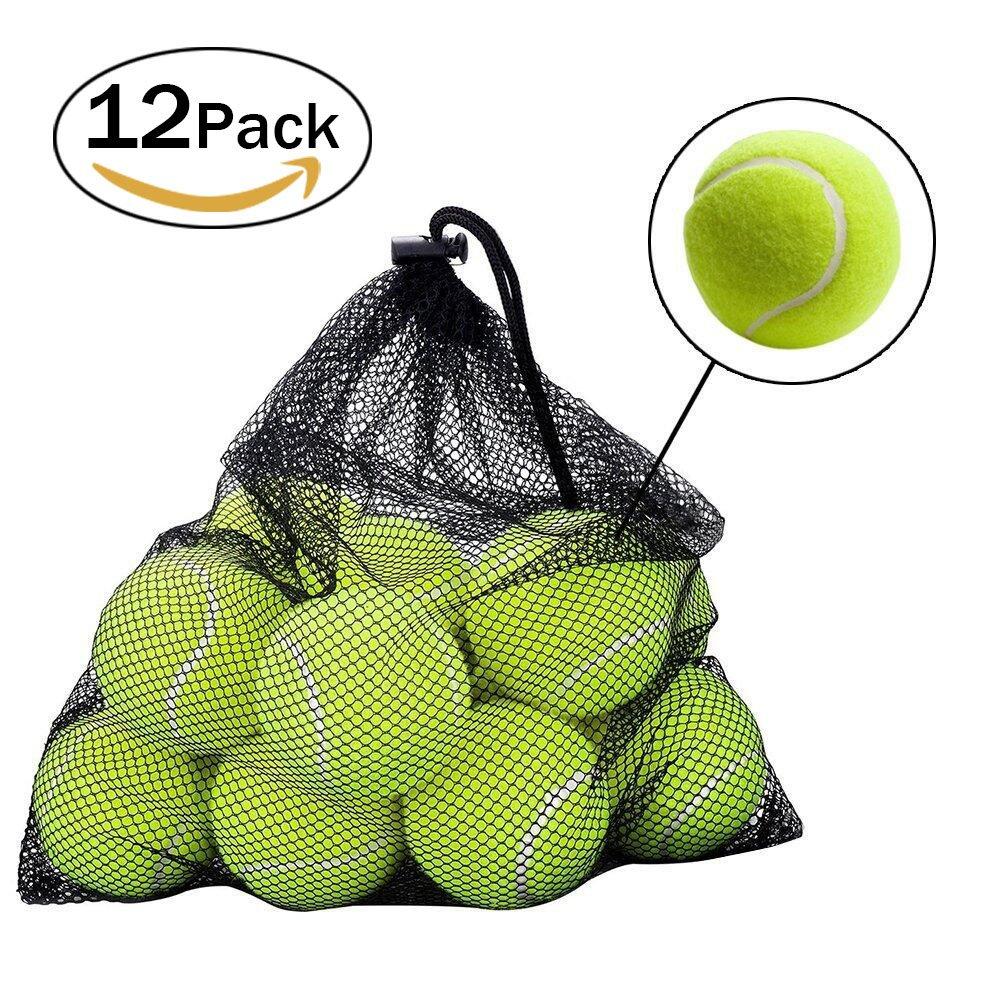 12 Pack Tennisbälle, ZOOYAUE Tennisbälle für Hund Sport Spielen Cricket Hund Spielzeug Ball mit Mesh Tragetasche,Outdoor Spaß Strand Freizeit Dog Training 12 Pack Tennisbälle