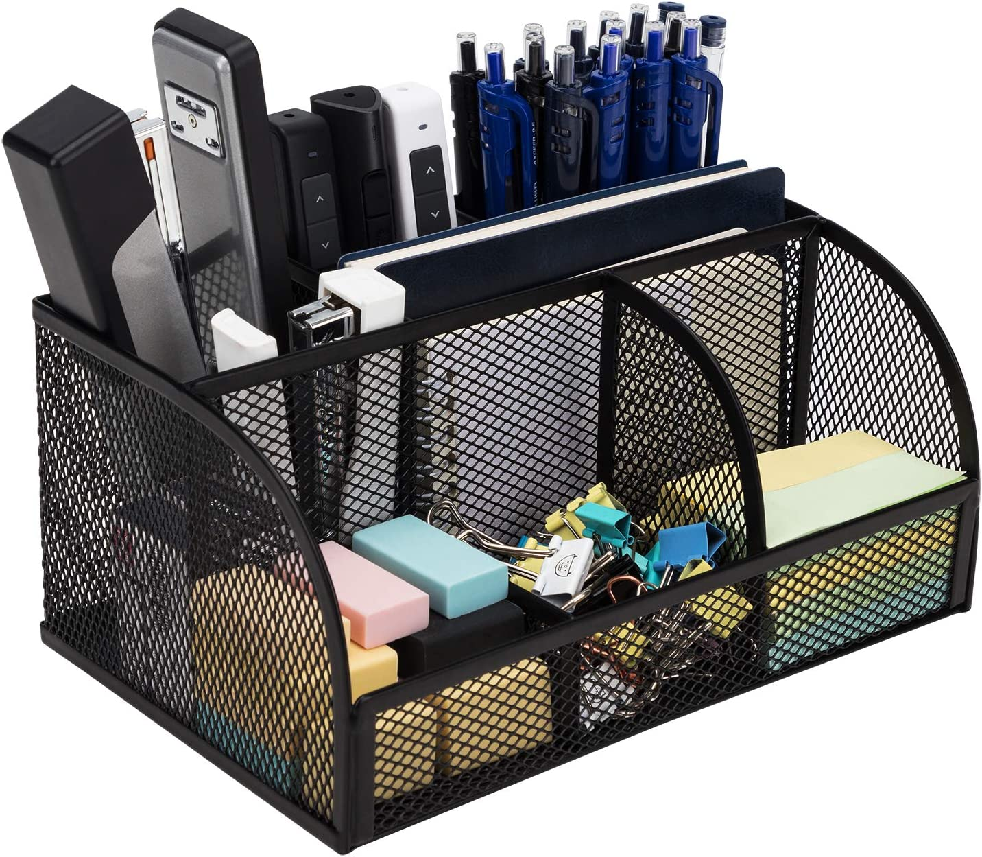 Deli Mesh Desktop Organizer Office Supplies Caddy with Pen Holder and Storage Baskets for Desk Accessories, 7 Compartments, Black