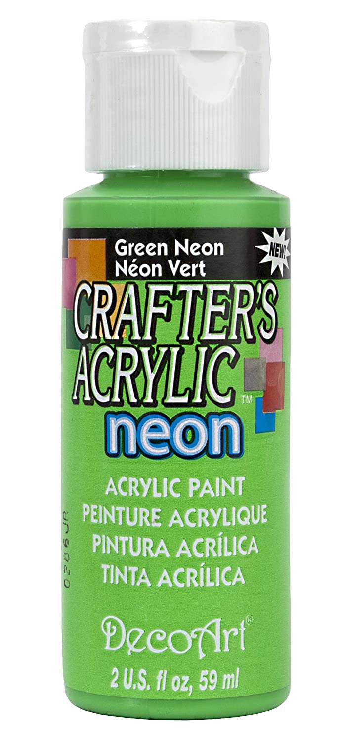 DecoArt DCA132-3 Crafter's Acrylic Paint, 2-Ounce, Green Neon Notions DCA132-3