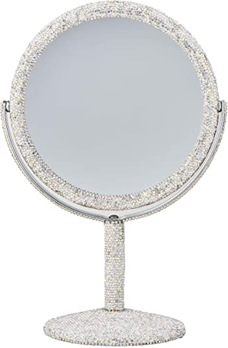 TISHAA Bling Dazzling Rhinestone Crystal 2X Double Magnification Stand Mirror