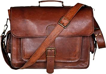 Men/'s Rare Goat Leather Vintage Laptop Messenger Handmade Briefcase Bag Satchel