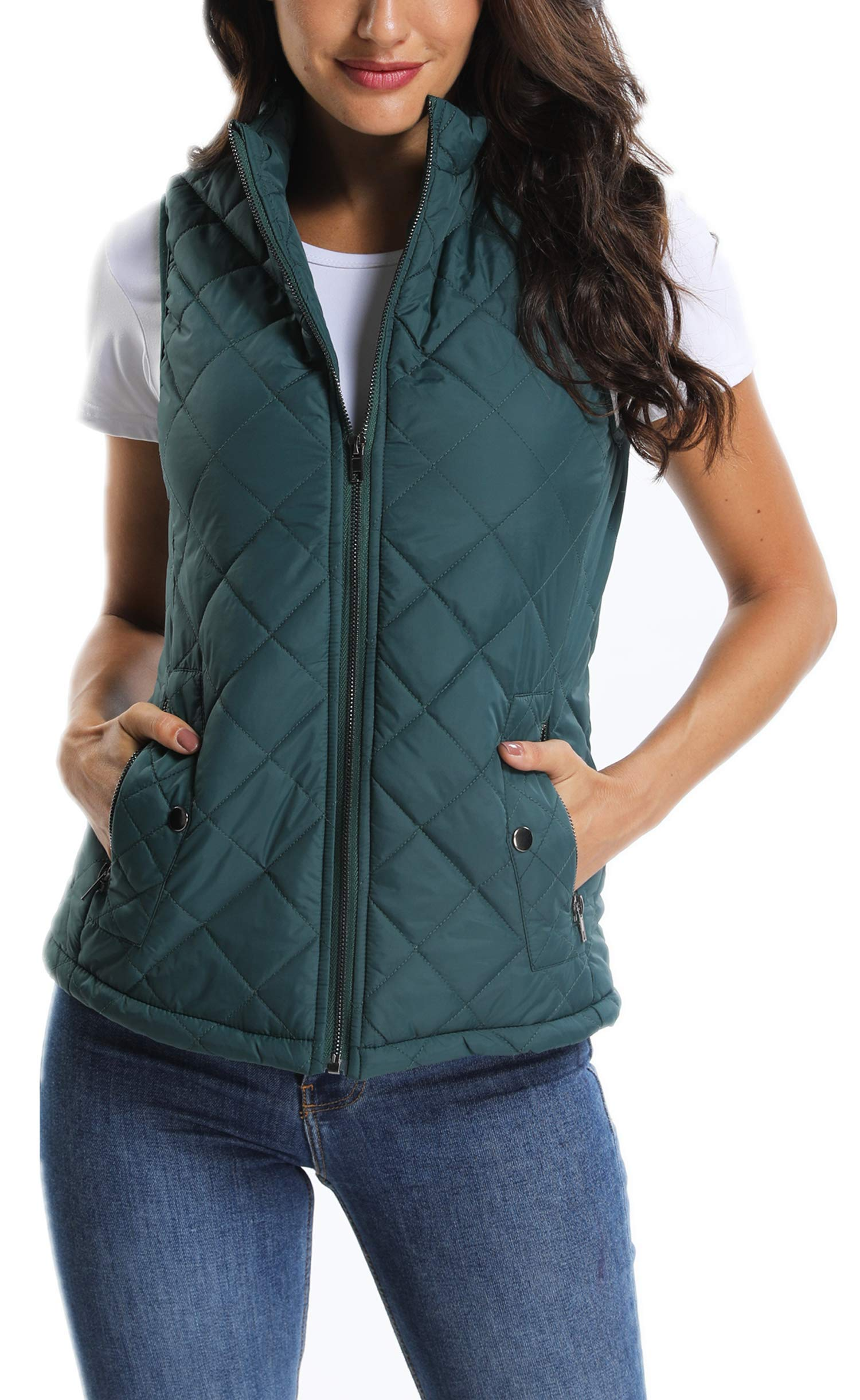 MISS MOLY Women's Lightweight Quilted Padded Vest Stand Collar Zip Up Front Gilet Quilted Green M