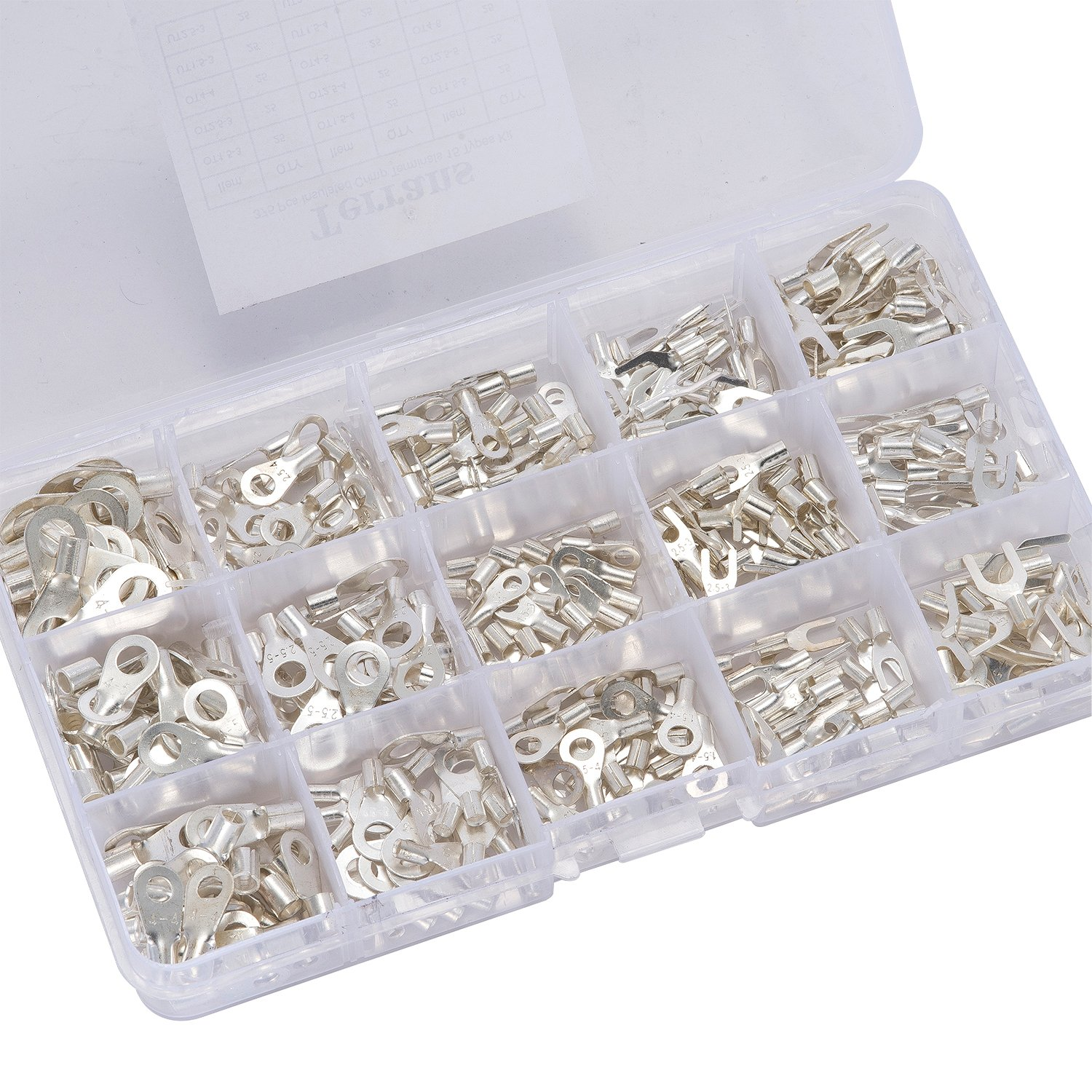 Terrans 375 Pcs 15 in 1 Non-Insulated Ring Fork U-type Terminals Tin ...