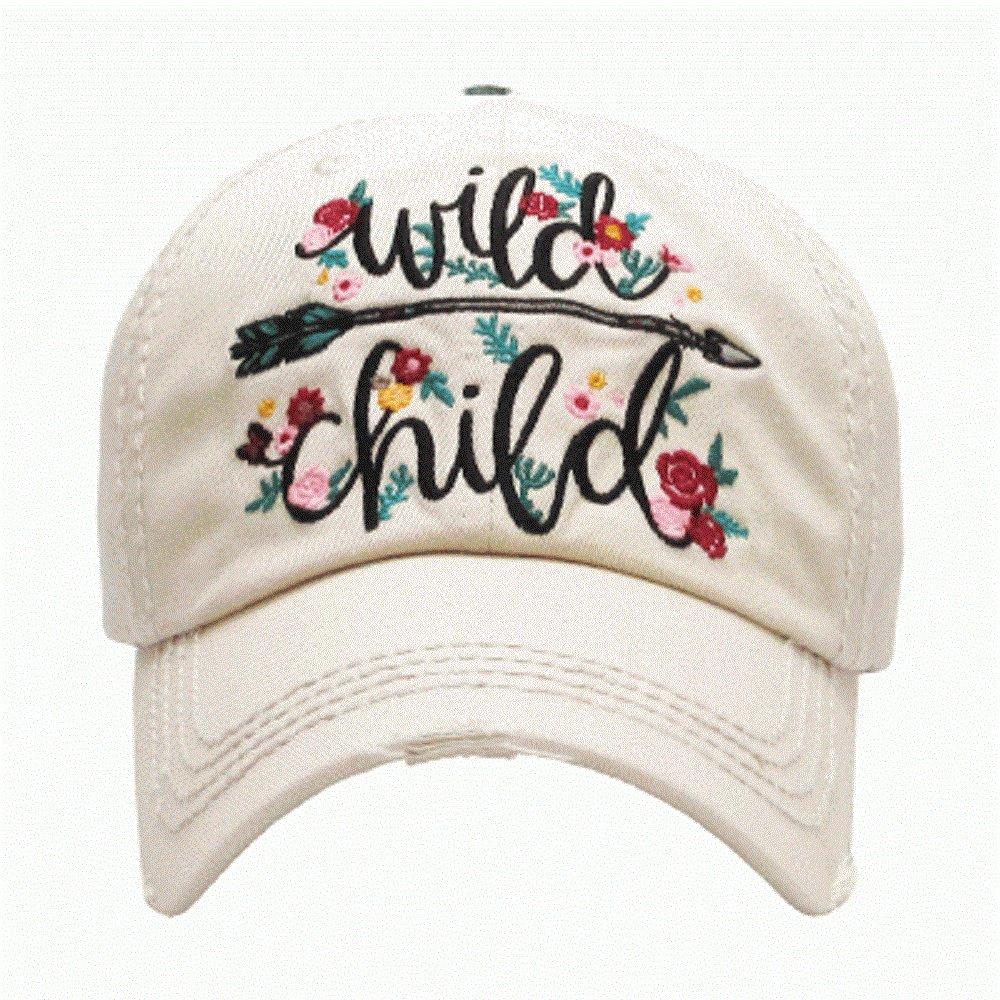 Wild Child Cream Washed Vintage Baseball Adjustable Cap.