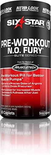 Six Star Pro Nutrition Elite Series Pre Workout N.O. Fury, Nitric Oxide Booster 60 caplets