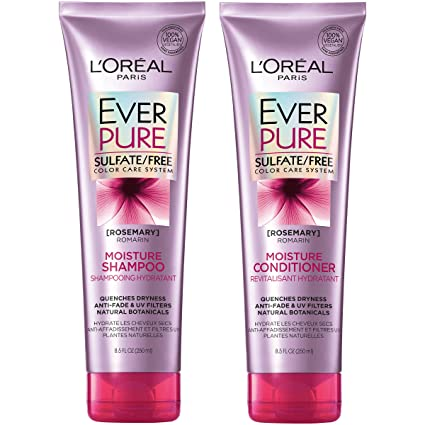 L'Oréal Paris Hair Care EverPure Moisture Sulfate Free Shampoo & Conditioner Kit for Color-Treated Hair, Moisturizes + Replenishes Dry Hair, Combo (8.5 Fl. Oz each) best shampoo for color-treated hair