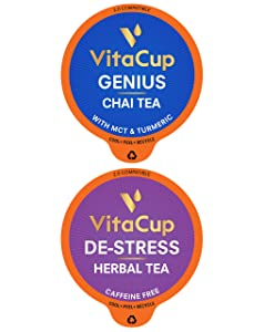 VitaCup Genius & DeStress Tea Pod 32ct.Bundle Vitamin infused Recyclable Single Serve Pods Compatible with K-Cup Brewers Including Keurig 2.0