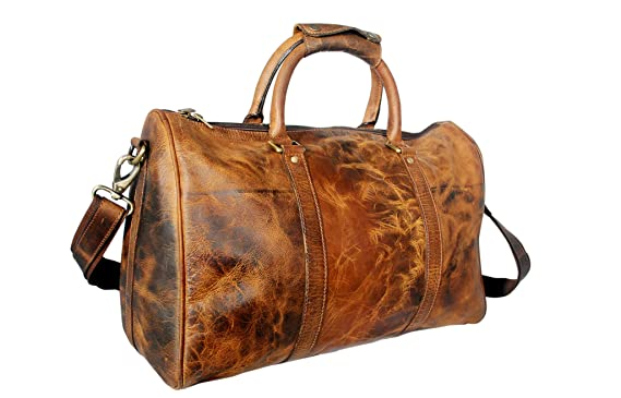 Amazon.com | 20inch Leather Travel Duffle Bag ~ Special Pockets ...