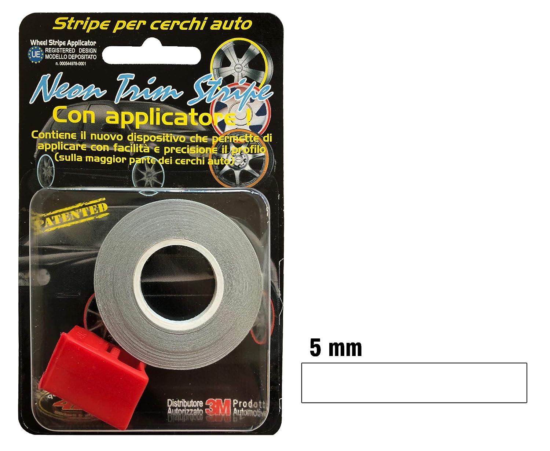 Quattroerre 10350 Wheel Trim Strisce Adesive Rifrangenti con Applicatore per Cerchi Auto, Bianco, 5 Mm X 6 Metri