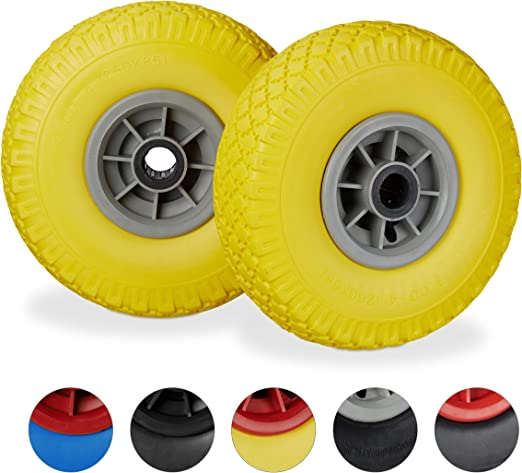 260 x 85 mm 3.00-4 Solid Rubber Wheel Yellow-Grey Hand Truck Spare Tyre Set Relaxdays 100 kg 25mm Axle Flatproof