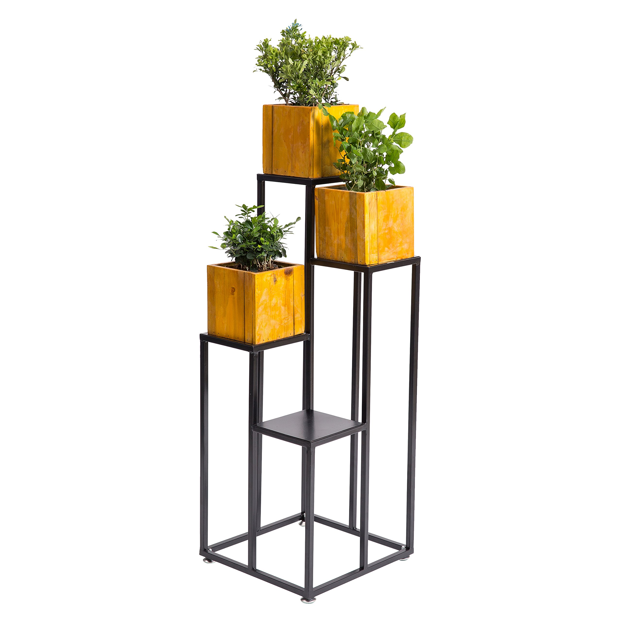 40 Inch Large Multilevel Black Metal 4-tier Planter Stand, Decorative Indoor Shelf Display Rack by MyGift
