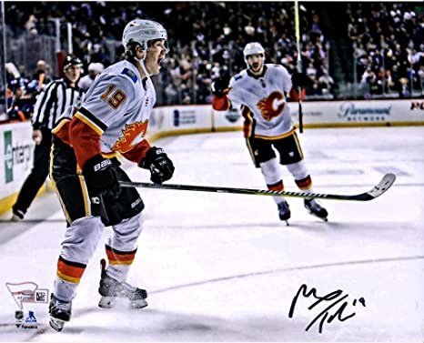 78344edbc11 Matthew Tkachuk Calgary Flames Autographed 8 quot  x 10 quot  Red Jersey  Skating Photograph - Fanatics