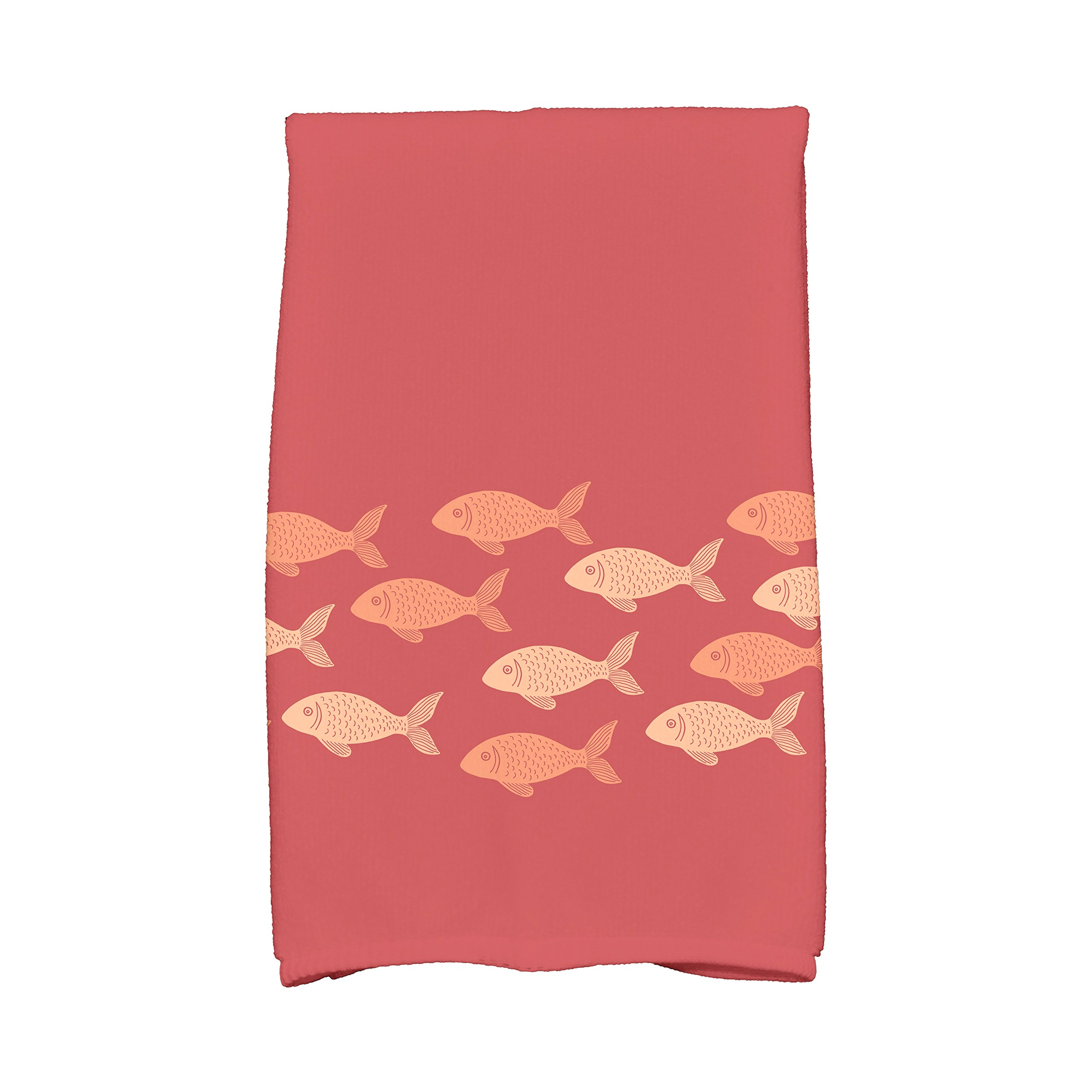 E by design KTAN424OR15OR10 Fish Line Animal Print Kitchen Towel, 16'' x 25'', Coral