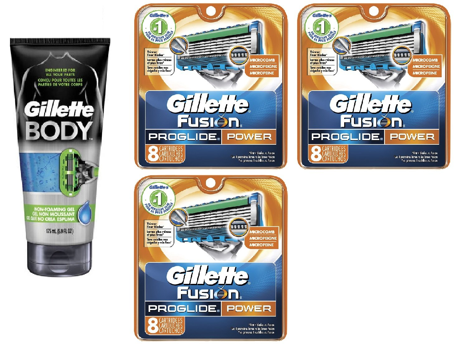 Gillette Body Non Foaming Shave Gel for Men, 5.9 Fl Oz + Fusion Proglide Power Refill Blades 8 Ct (3 Pack) + FREE Luxury Luffa Loofah Bath Sponge On A Rope, Color May Vary