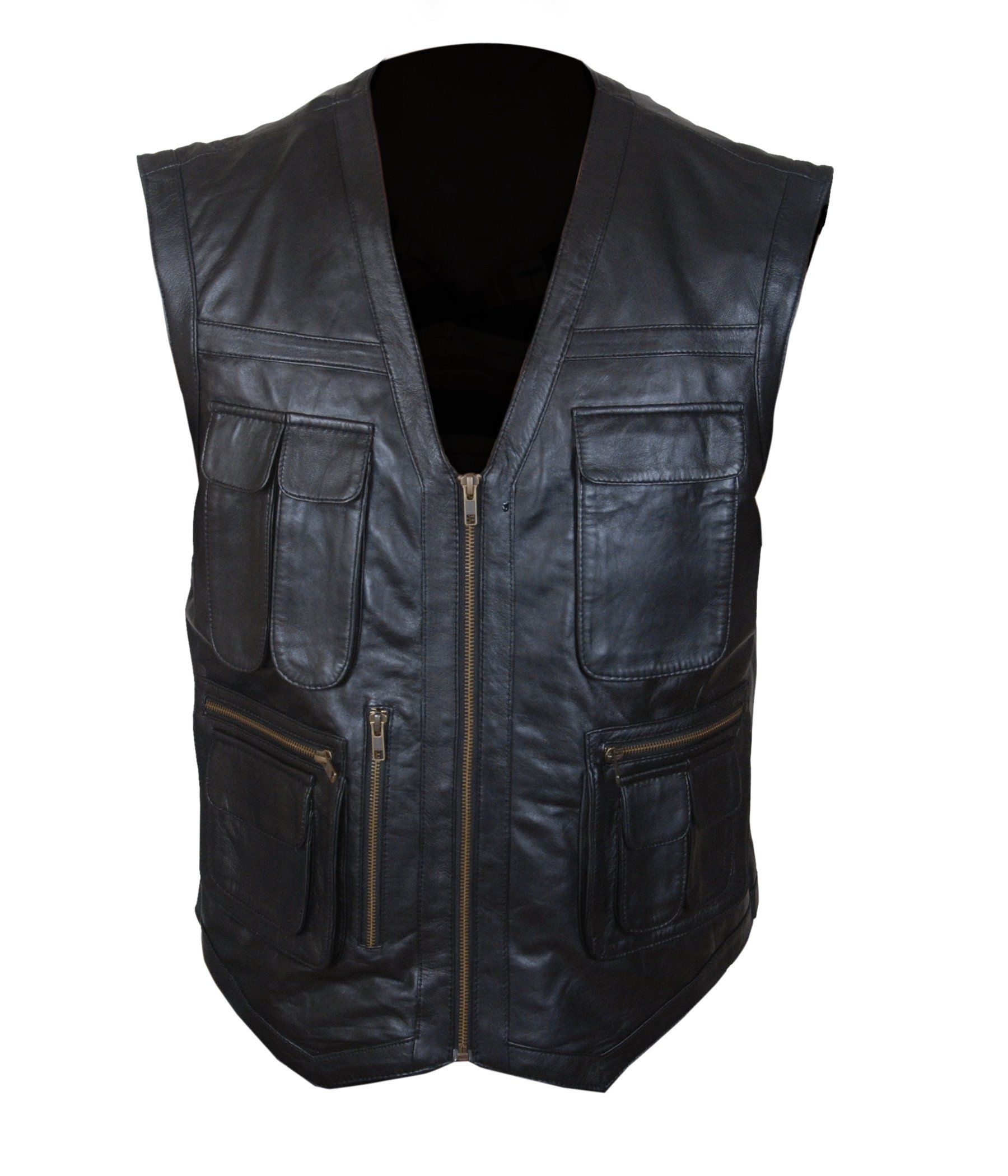 F&H Boy's Jurassic World Chris Pratt Owen Grady Synthetic Leather Vest XL Black by Flesh & Hide