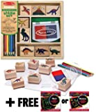Dinosaur: Wooden Stamp Set + FREE Melissa & Doug Scratch Art Mini-Pad Bundle [16339]