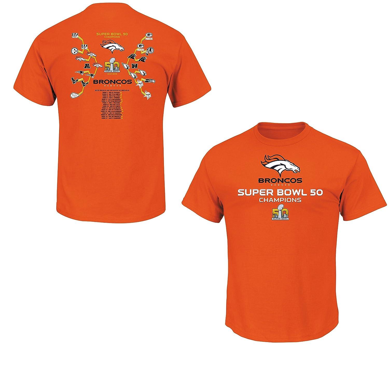 8d36b6b81 Amazon.com   Denver Broncos Super Bowl 50 Champs Strength of Schedule  Orange T-shirt   Sports   Outdoors