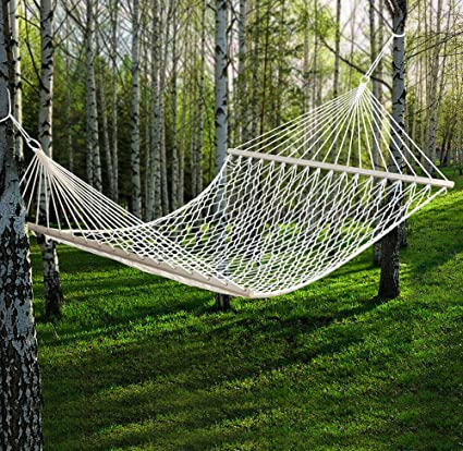 59 Cotton Hammock Double Wide with Solid Wood Spreaders 2 Person 450lbs