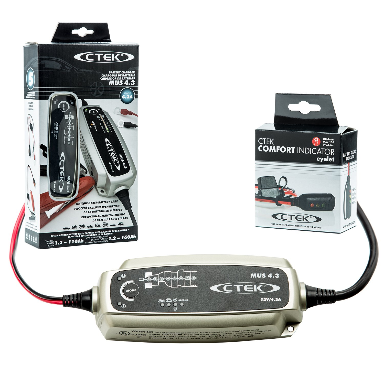 CTEK (56-864) MUS 4.3 12 Volt Fully Automatic 8 Step Battery Charger with (56-382) Indicator Eyelet Accessory