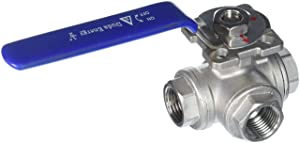 "Duda Energy 3WBV-WOG200-F050-T T-Type Ball Valve, 304 Stainless Steel, 3-Way, SS304 SUS304 1/2"" NPT FPT.5"""