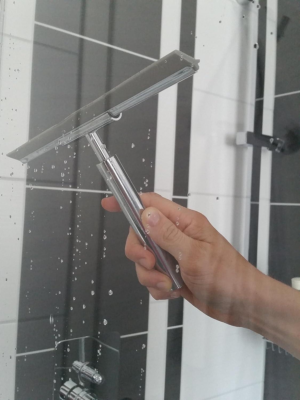 Bathroom Duschabzieher Edelstahl mit Wandhalterung ThingsSoPerfect streifenfrei rostfrei Chrom