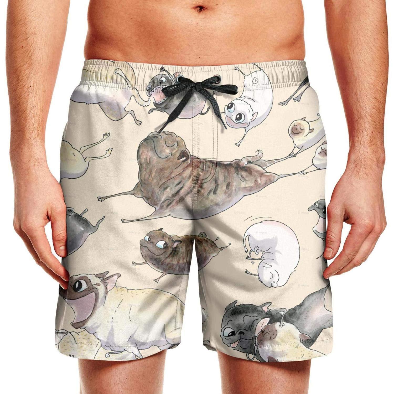 CCBING Running Pug Dogs Printed Mens Summer Swim Trunks Waterproof Surfing Swimwear