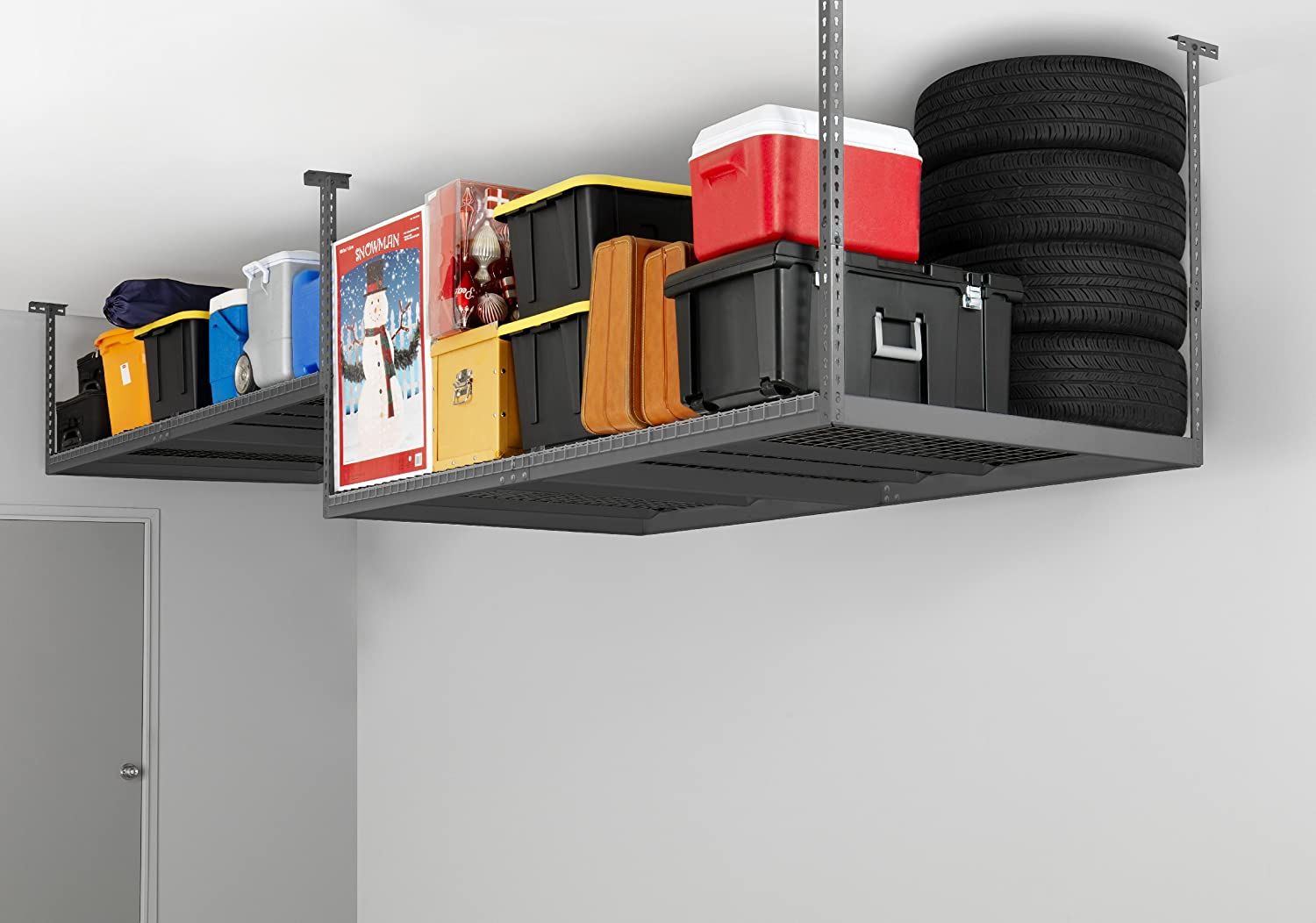 rack garage ceiling shelves ideas racks storage ladder overhead