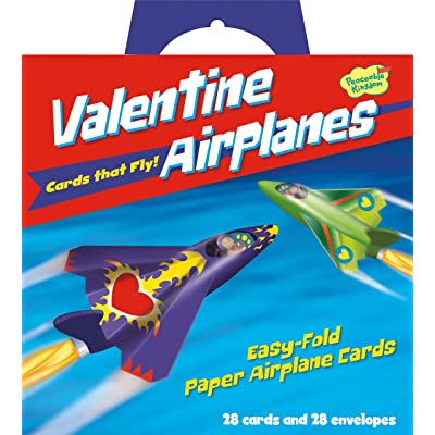 Peaceable Kingdom Valentine Airplanes - 28 Folding Airplane Cards: Toys & Games