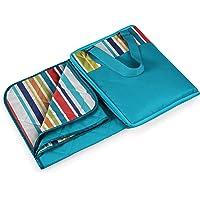Picnic Time Vista Outdoor Picnic Blanket Tote, Aqua with Fun Stripes