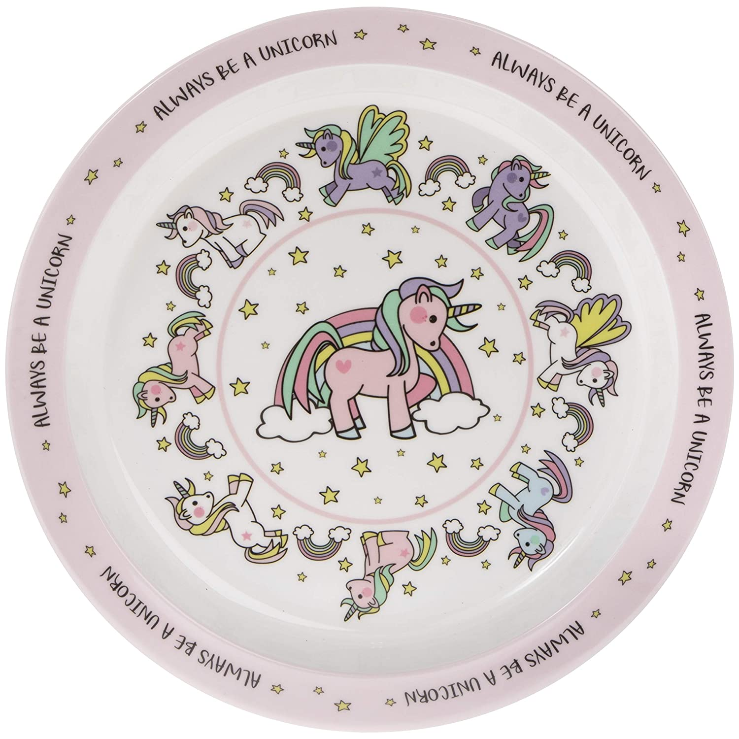 """Always be a Unicorn"" Pink Rainbow Melamine Plastic Childrens Dinner Plate 21cm Lesser & Pavey"
