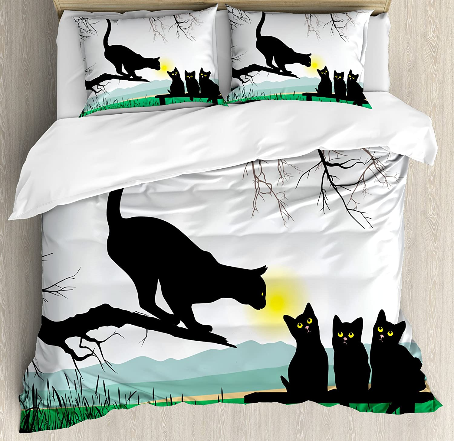 Ambesonne Cat Duvet Cover Set, Mother Cat on Tree Branch and Baby Kittens in Park Best Friends I Love My Kitty Graphic, Decorative 3 Piece Bedding Set with 2 Pillow Shams, Queen Size, Black Green