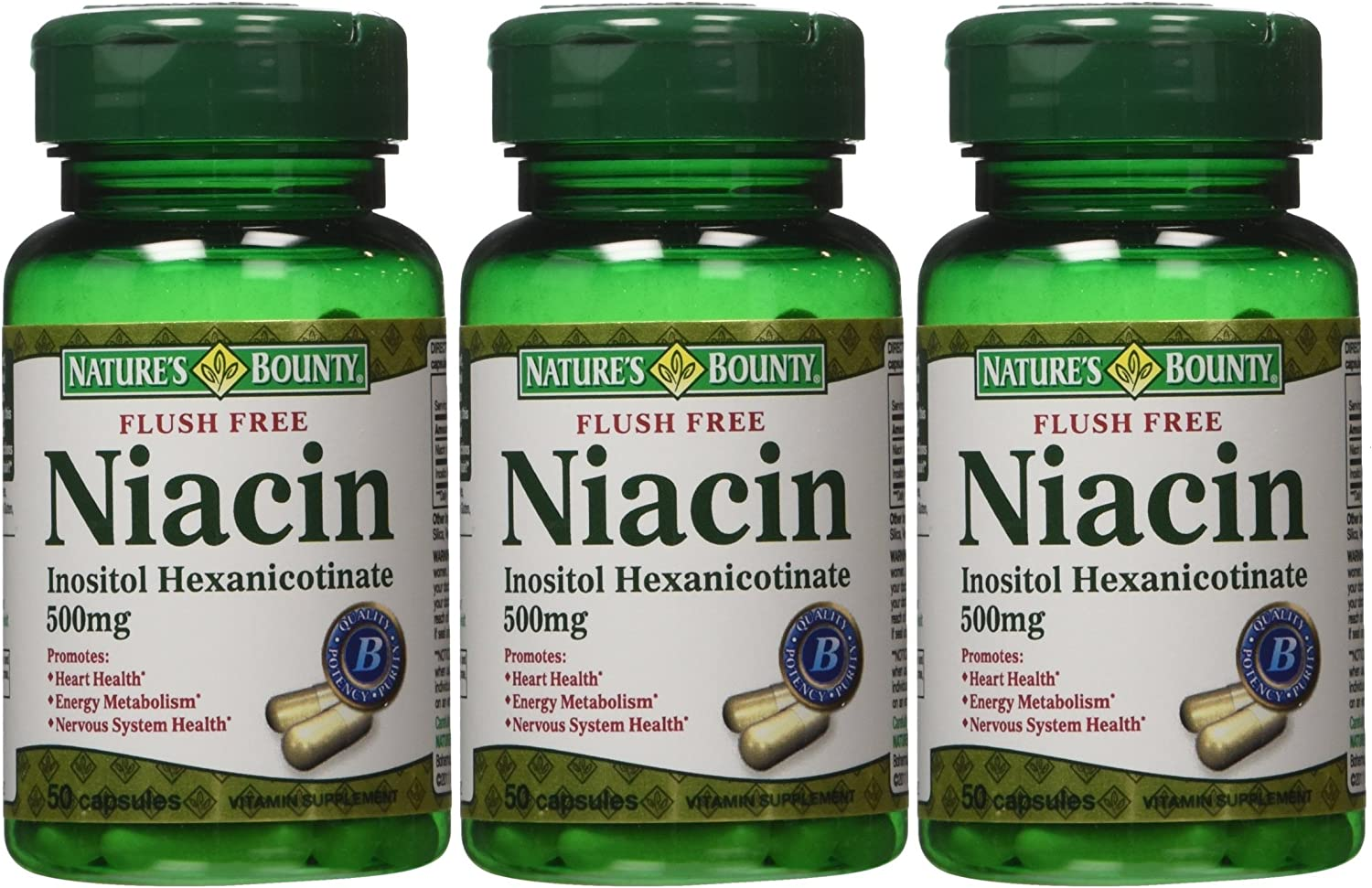 Nature s Bounty Flush Free Niacin 500 Mg, 150 Capsules 3 X 50 Count Bottles
