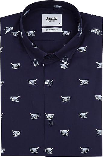 Brava Fabrics - Camisa Estampada - Camisa Manga Larga para Hombre - 100% Algodón Orgánico - Modelo Japanese Sky: Amazon.es: Ropa y accesorios